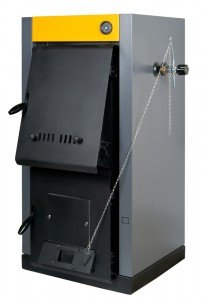A residential furnace, burns firewood or coal and makes warm air